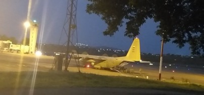 Colombian Air Force C-130 in Cúcuta offloading soldiers and supplies on the 5th of February
