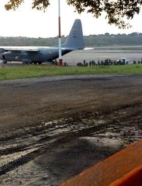 Colombian Soldiers disembarking a Colombian Air Force C-130 in Cúcuta on the 1st February