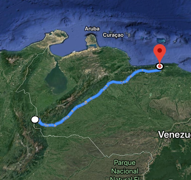 The 850km journey from Caracas to San Antonio de Táchira took the convoy 2 days to complete.
