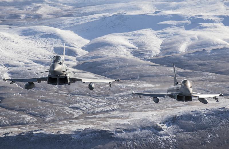 """Crown copyright 2018"". RAF Typhoons"