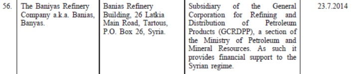 Baniyas Refinery is located on the EU sanctions list on Syria.