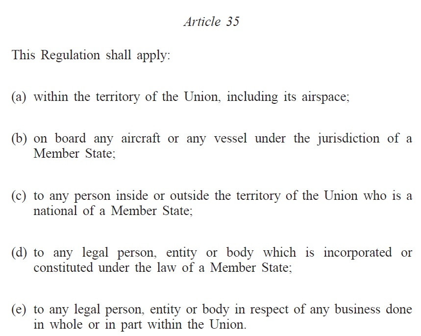This is where the EU sanctions can be applied to.