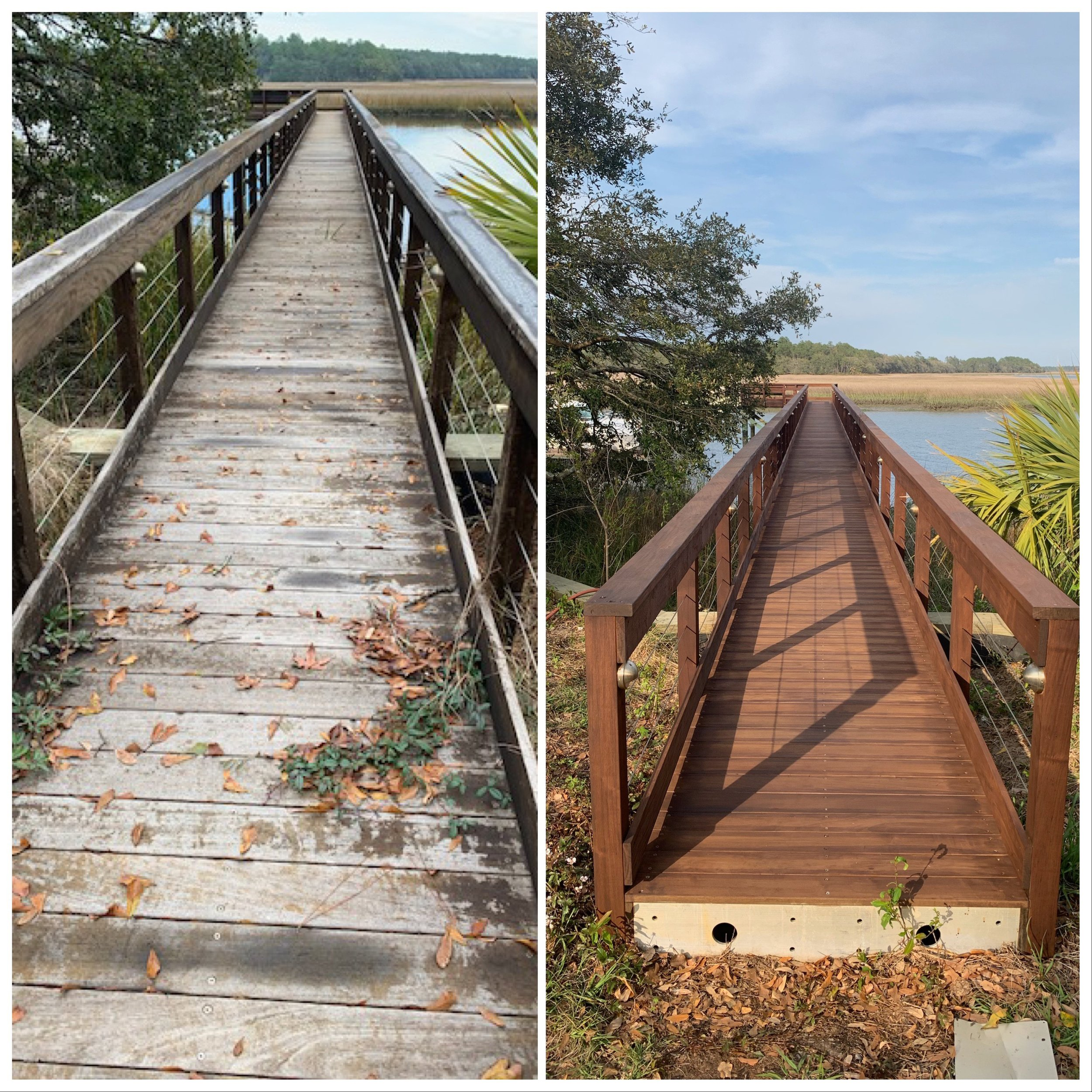 Wood Restoration & Staining - Making even the most neglected surfaces look new again! Weather is your worst enemy, especially out here in the low country. Properly restoring and staining your deck, pier, deck, porch, pergola, etc. will have it looking new and keep it in great shape for years to come!