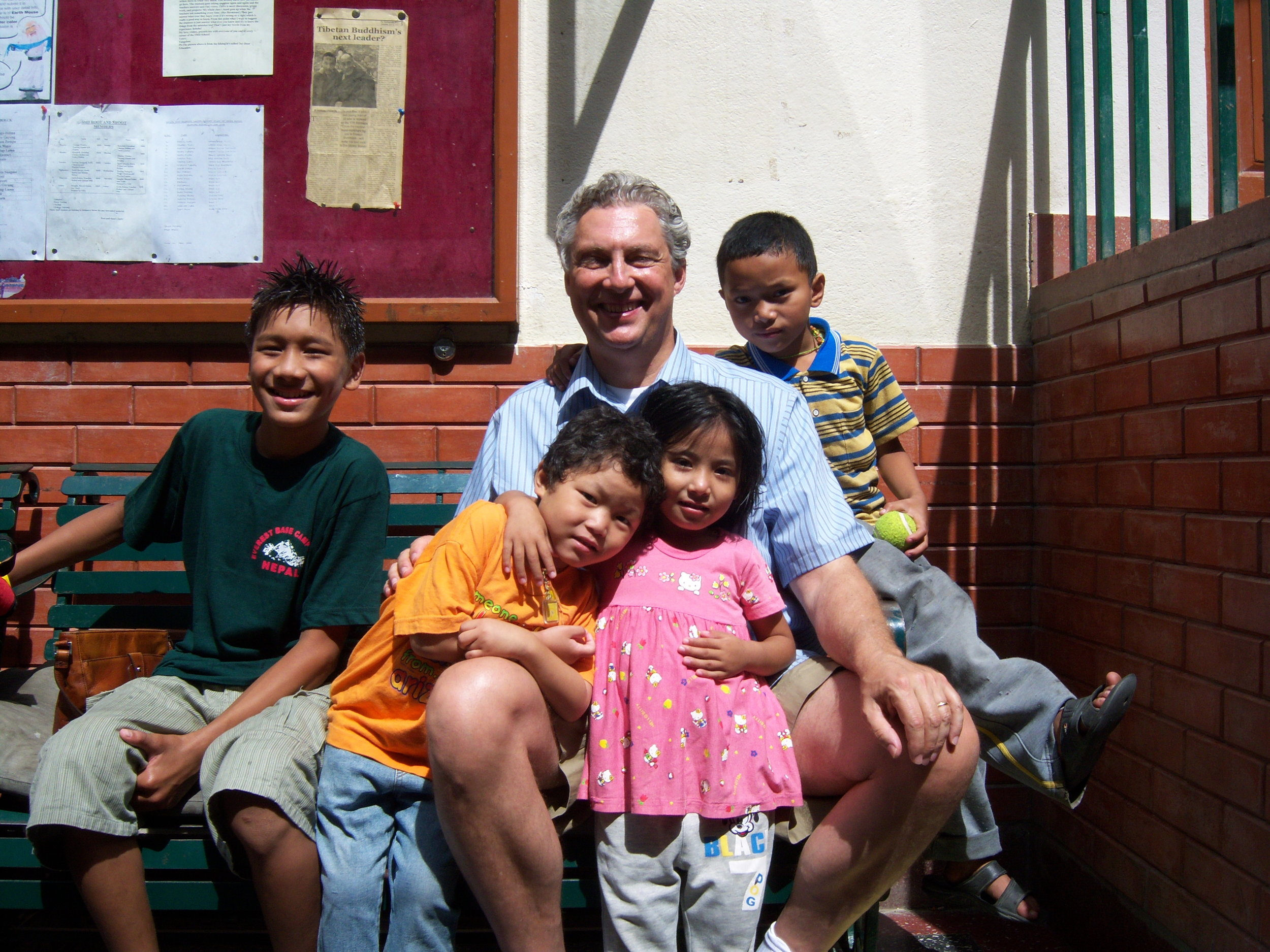 David with son Dorje and friends in Kathmandu, Nepal