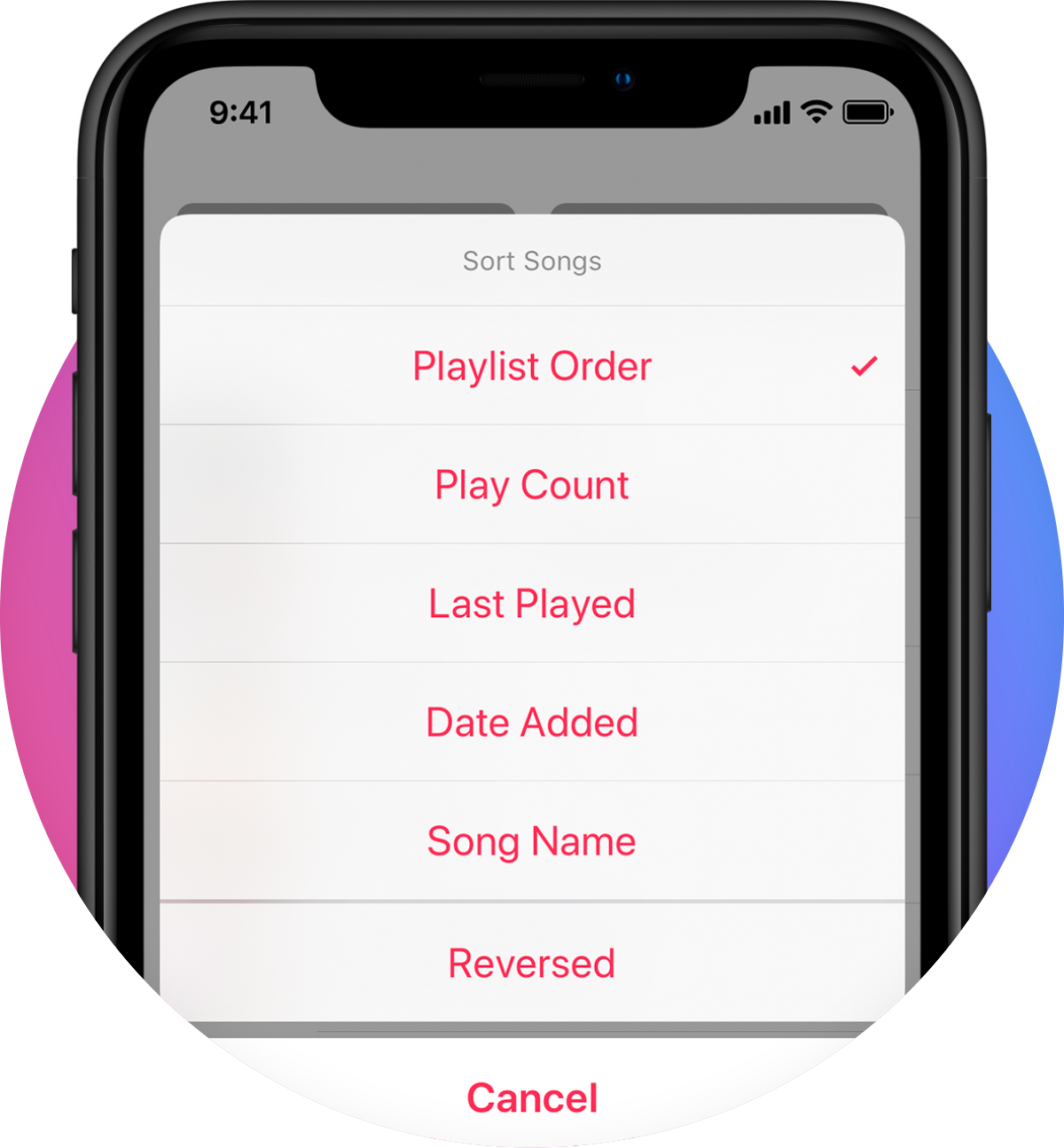 Multiple sorting options, or collect tracks by Artist, Album, Genre or Composer. -