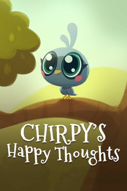 """Illustration of bird on tree branch with text """"Chirpy's Happy Thoughts"""""""