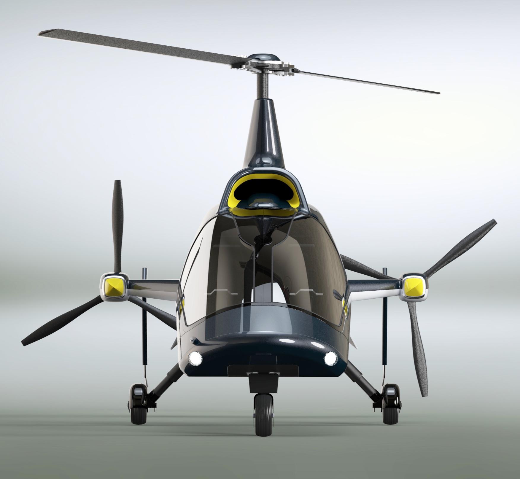 Wyzwanie projektowe? - Rozpoczynając ten projekt, miałem już wstępny zarys szkieletu z wyznaczonymi wszystkimi najważniejszymi punktami konstrukcyjnymi. Konstruktor lotniczy wyznaczył miejsce mocowania silników, wirników czy skrzydeł. Wyzwaniem było obudowanie w najbardziej aerodynamiczny kształt jak można. Ponieważ wiropłat nie ma zmiennych kątów natarcia wirnika, nie pochyla się w locie tak jak helikopter. Dlatego zależało mi, aby tak zaprojektować bryłę, by pomimo tego wyglądał równie dynamicznie.