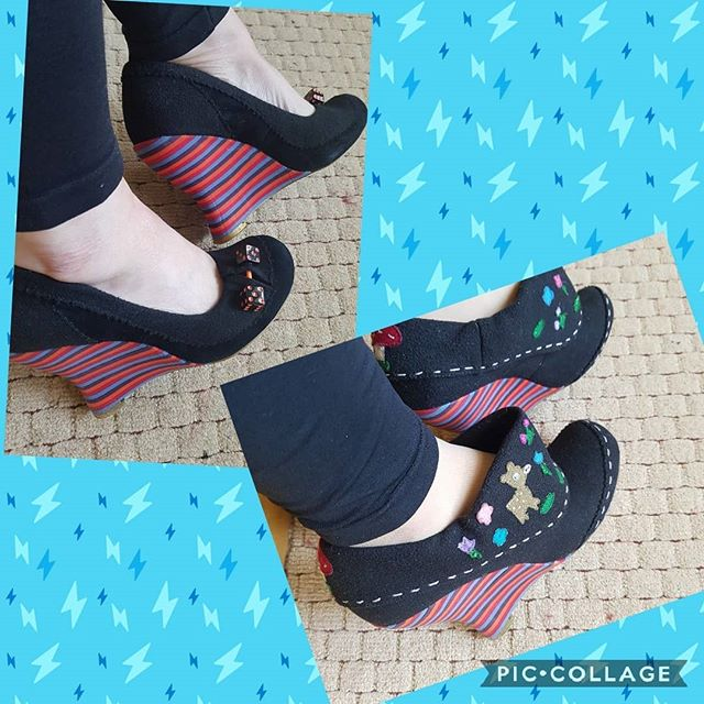 Stripey heels day. Boots or shoes??? I love both these pairs. Love this heel and I think of these 2 the boots are my favourite.  @irregularchoice maybe more of these heels? #irregularchoice #irregularchoiceaddict #quirkyshoes #shoeblogger #shoegram #beyourselfalways #over40women #beyourselfeveryoneelseistaken #over40style #fashionoverforty #nearly50 #shoesmakemehappy #confidenceboost #confidencebuilding #quirkygirl #quirkystuff #shoetrends #curvyandproud #disneyshoes #embracepositivity #staypositive #happyshoes #feelgoodlookgood #daretobedifferent #teacherfun #shoegame