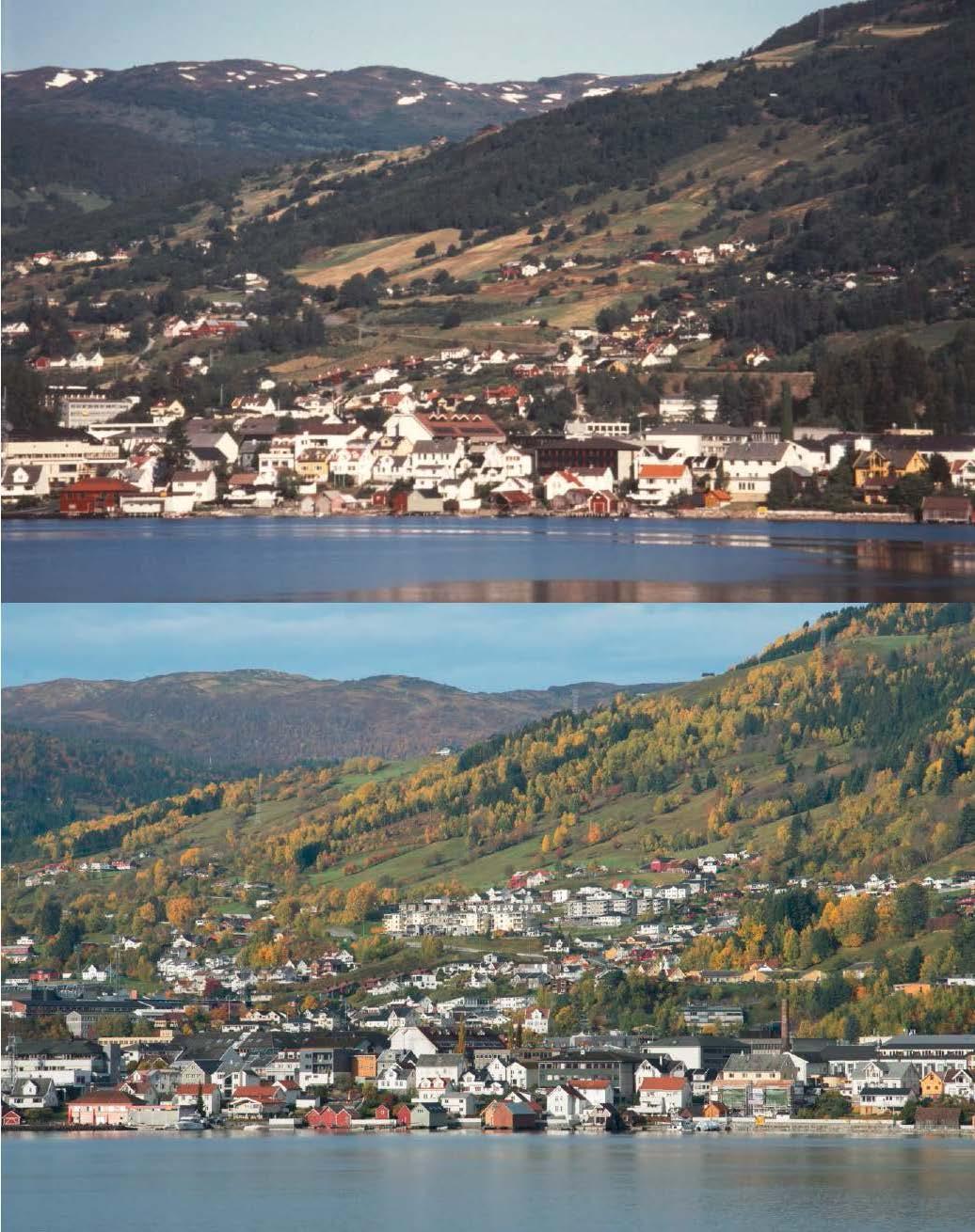 NAMIT - Forskingsprosjektet Natur- og miljøvennlig tettstedsutvikling eller NAMIT (1988-1992) vart leidd av Petter Næss ved Norges miljø- og biovitenskapelige universitet, som også er med i Surround.NAMIT gjekk ut på å studere kommunane Sogndal, Borre (dagens Horten), Malvik og Trondheim med tanke på berekraftig tettstadutvikling. Det rikhaldige materialet frå prosjektet utgjer eit viktig samanlikningsgrunnlag for Surround.Fotografia til høgre viser tettstaden Sogndalsfjøra rundt 1990 (over) og i 2018. Foto: Ingvild Austad (1990) og Leif Hauge (2018).