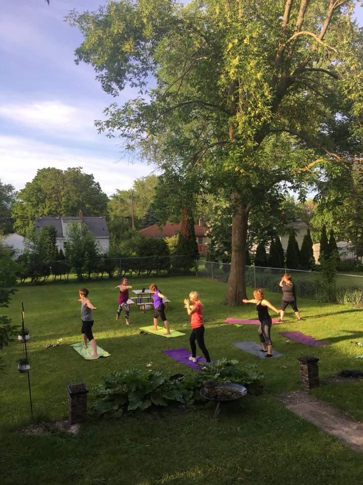 Yoga class in my backyard