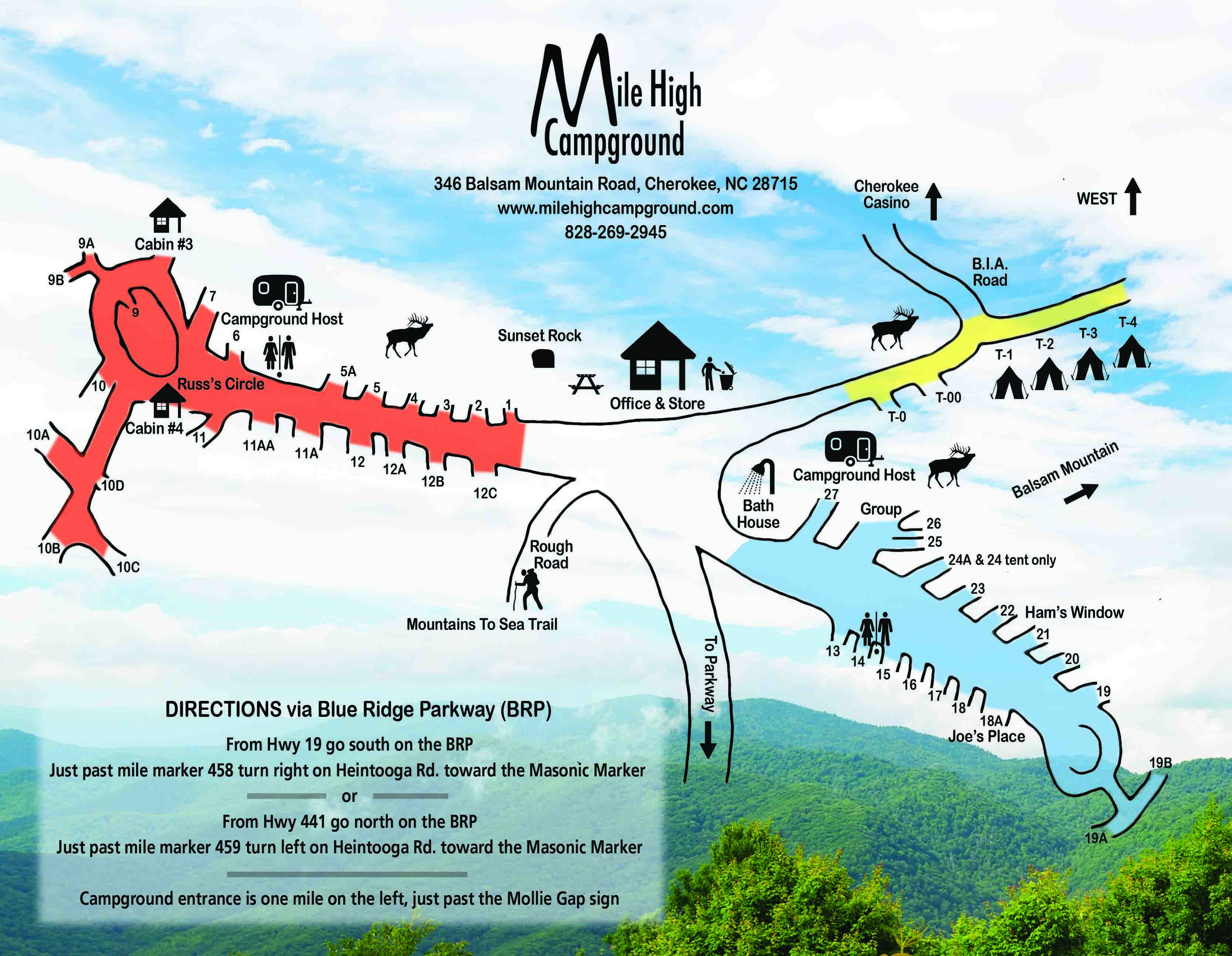 Mile High Campground Brochure - Click Below to Download our printable brochure.Front of BrochureBack of Brochure (site map)