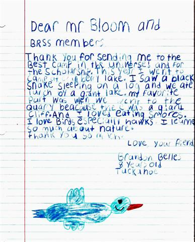 This is a letter we received from a Tuckahoe child who attended Westchester County's Ecology Camp at Cranberry Lake. When you finish reading it, we hope you'll agree that this is a valuable program.