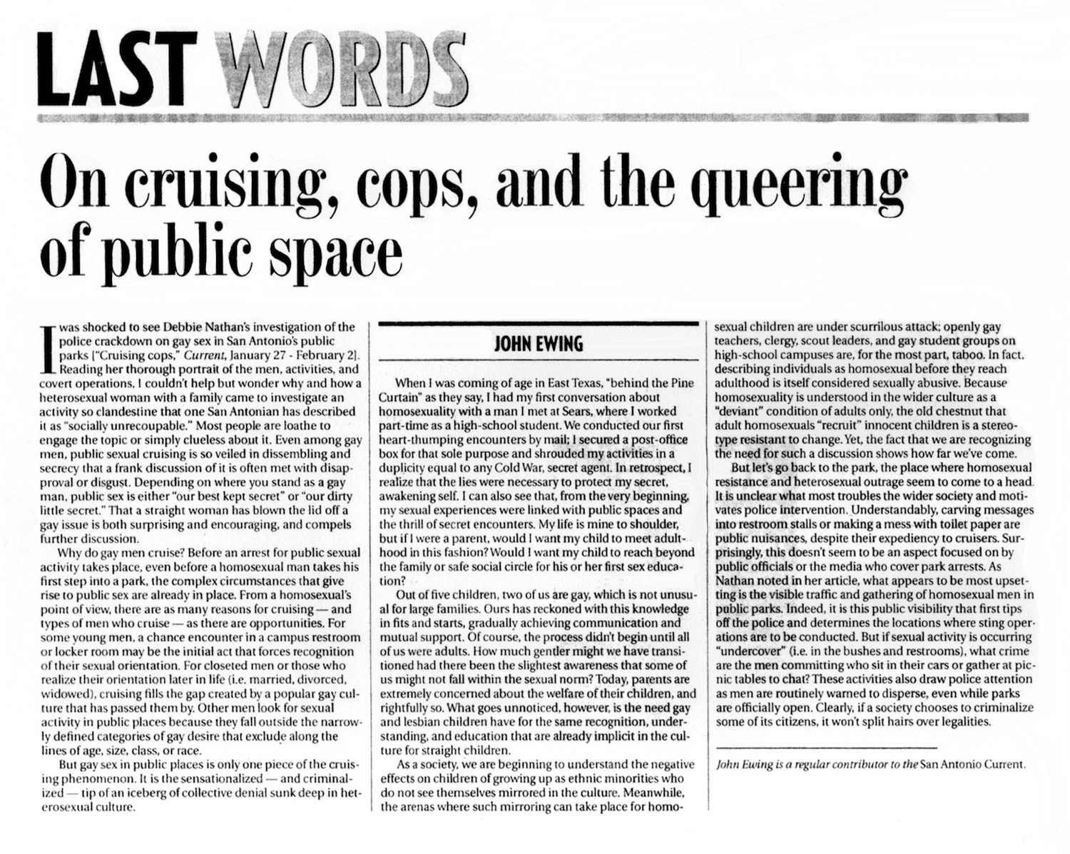 SC_2001_On Cruising, Cops, and the Queering of Public Space