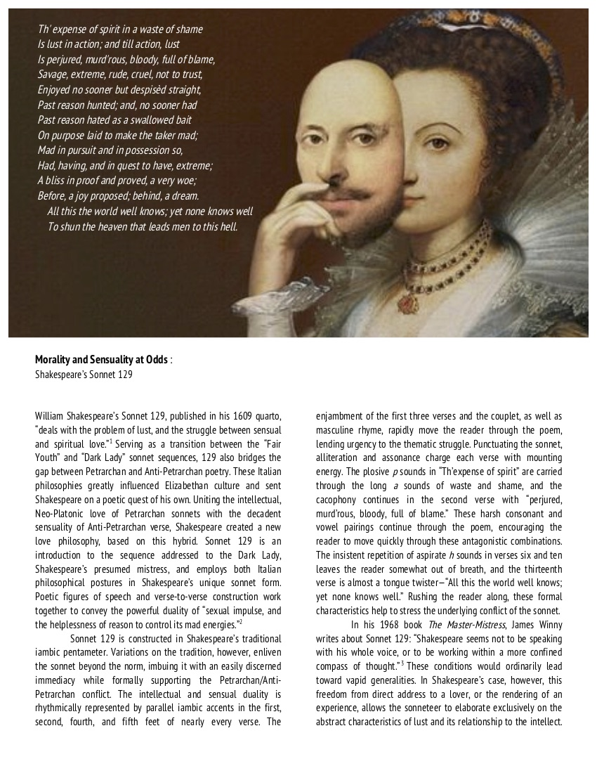 Morality and Sensuality at Odds_Shakespeare's Sonnet 129