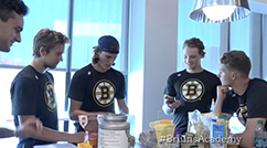 Bruins nutritionist Julie Nicoletti teaches prospects some healthy recipes during Development Camp.   Click Here to watch the video.