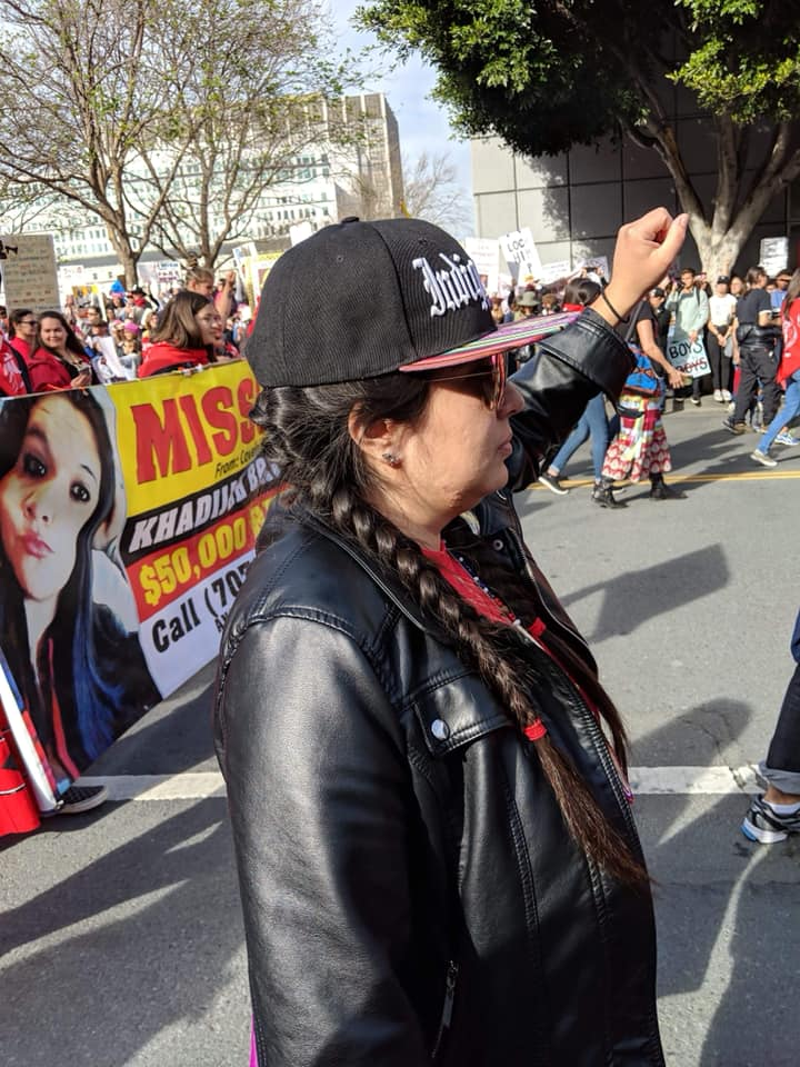 Sam Campbell marching in San Francisco with the Indigenous women advocating for the Missing and Murdered Indigenous Women and Girls during the Women's March (2019).