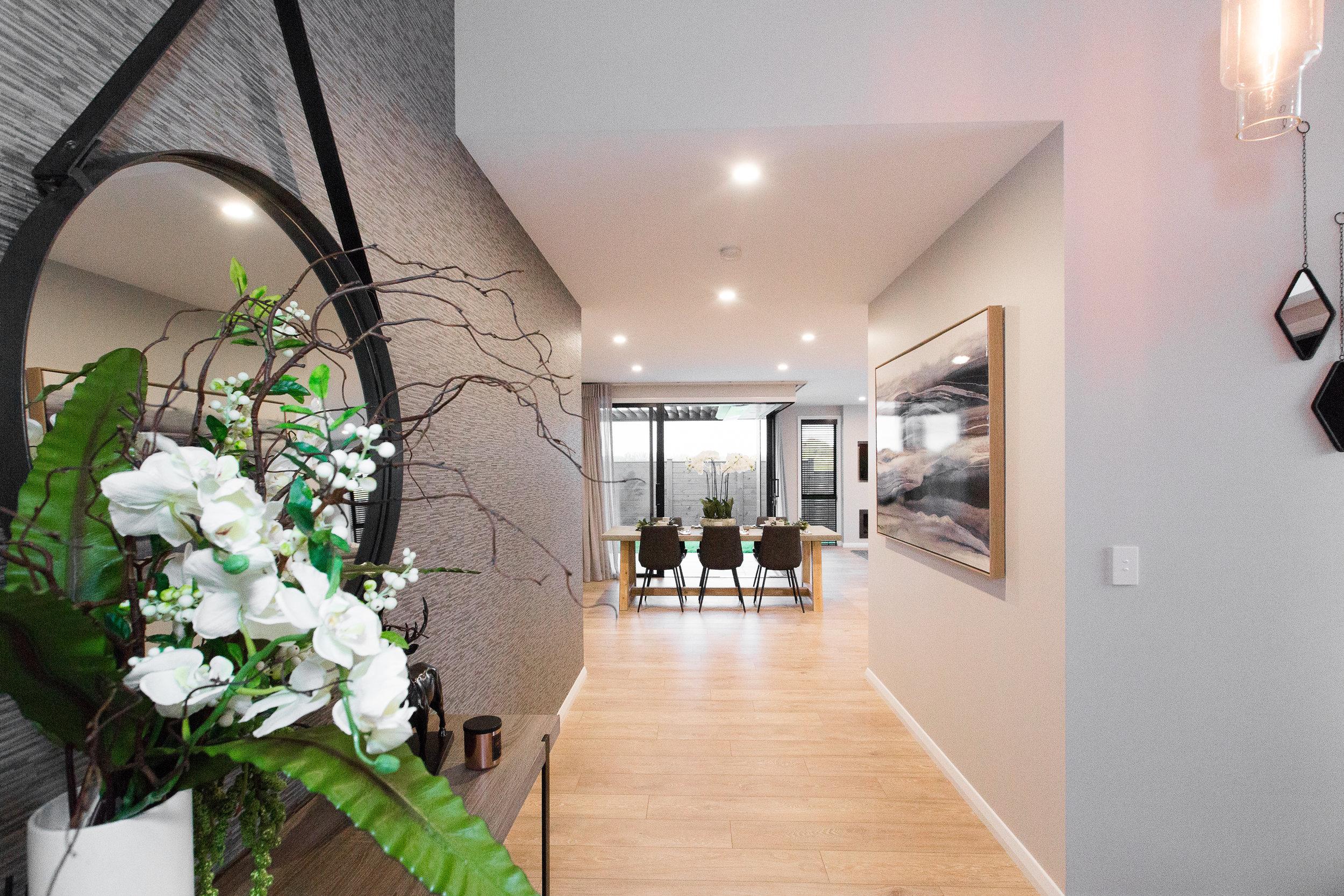 modern hallway and dinning room