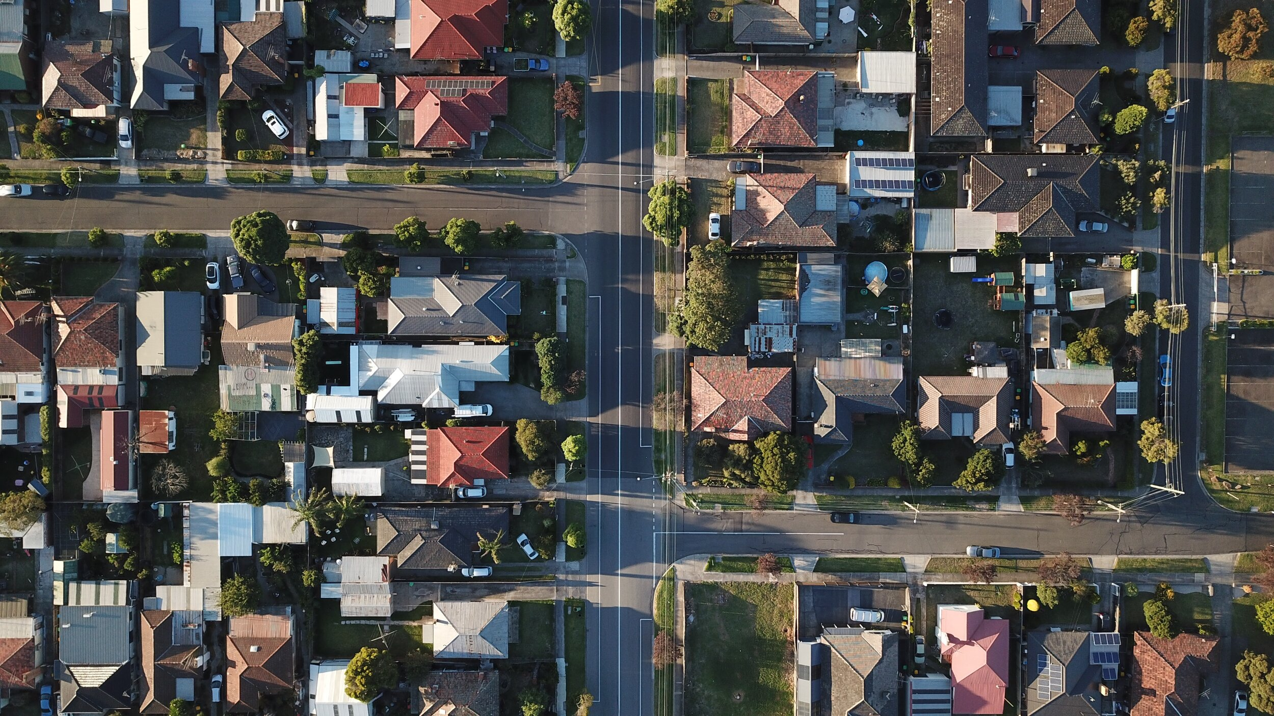 Aerial view of houses in suburb