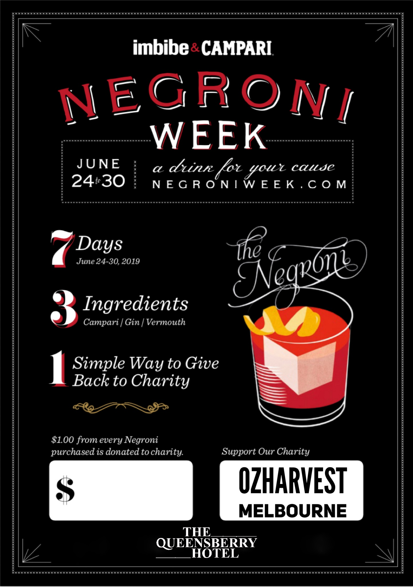 NEGRONI WEEK - It's that time of year again - Negroni Week. Drink whilst supporting our chosen charity - OZHARVEST.Choose from:Original Negroni $12.5Negroni Spagliato $15.0Sloe Groni $15.0$1 from every Negroni sold between Mon 24 June and Sunday June 30 is donated to OzHarvest.We'll drink to that :)