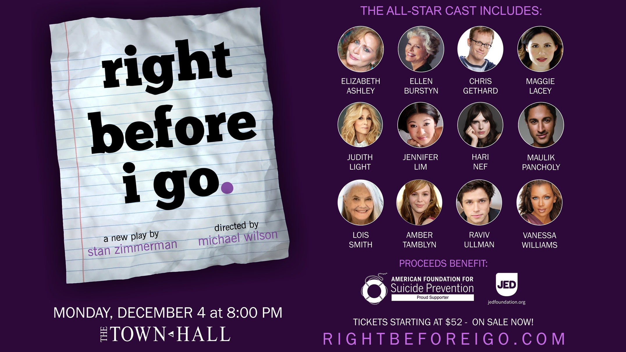 Right Before I Go - by Stan ZimmermanAssistant to the PlaywrightDecember 4, 2017The Town Hall