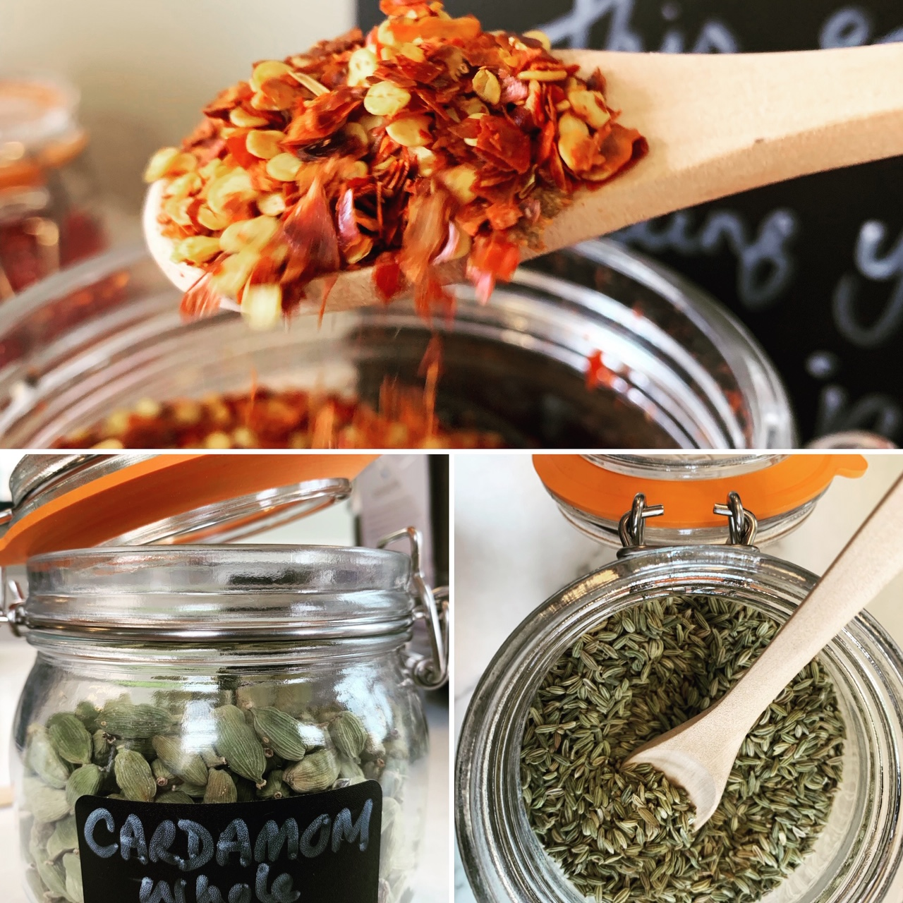 Spice merchants… - One of the best things about our shop is refilling these jars!
