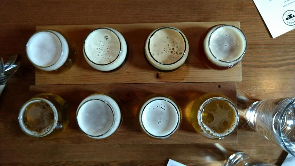 Flights at  Trading Post Brewery.