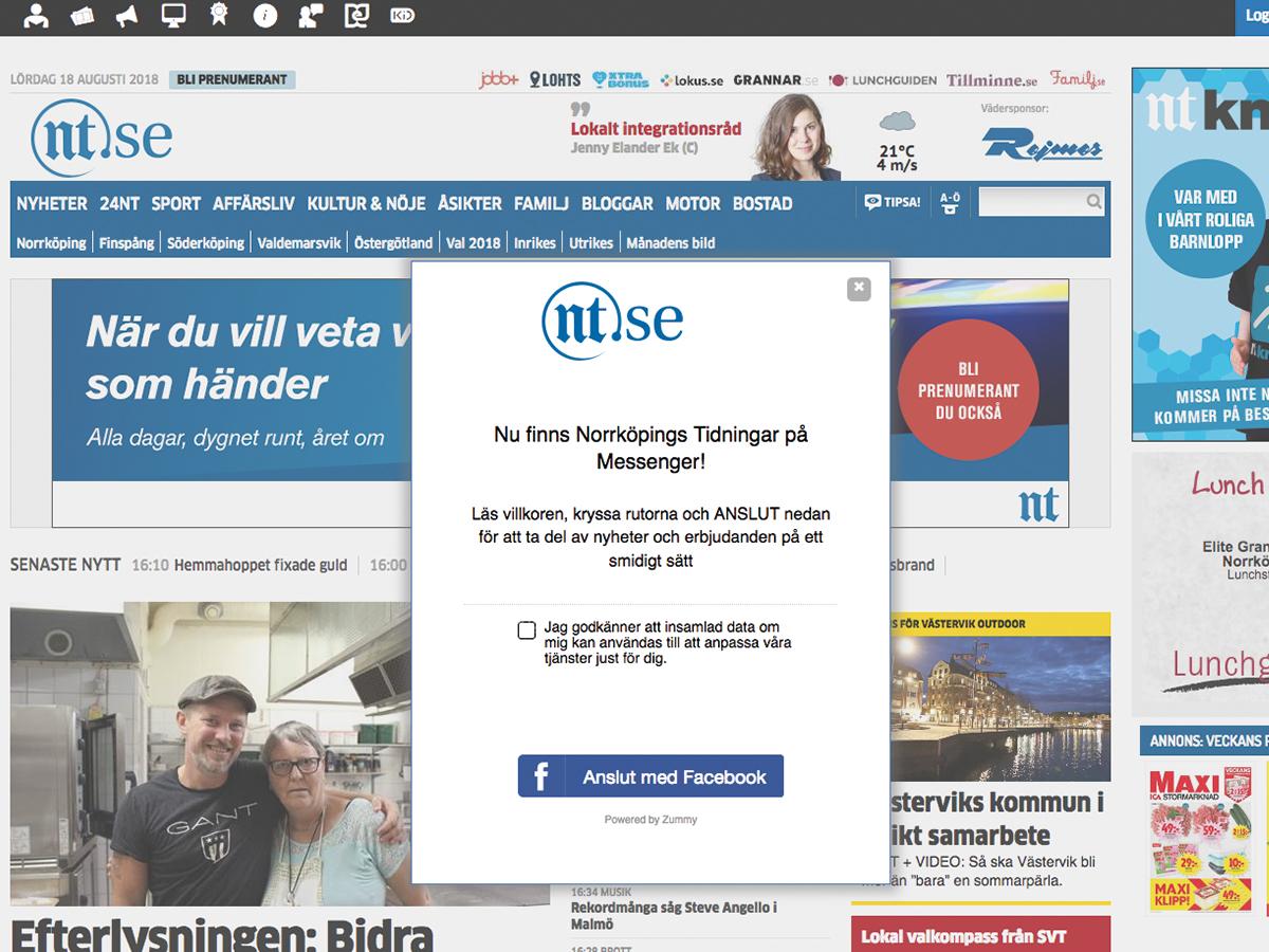 Norrköpings tidningar chatbot