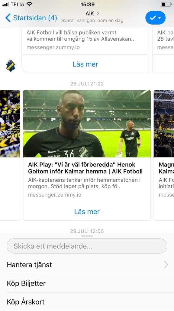 Information from AIK Fotboll through chatbot