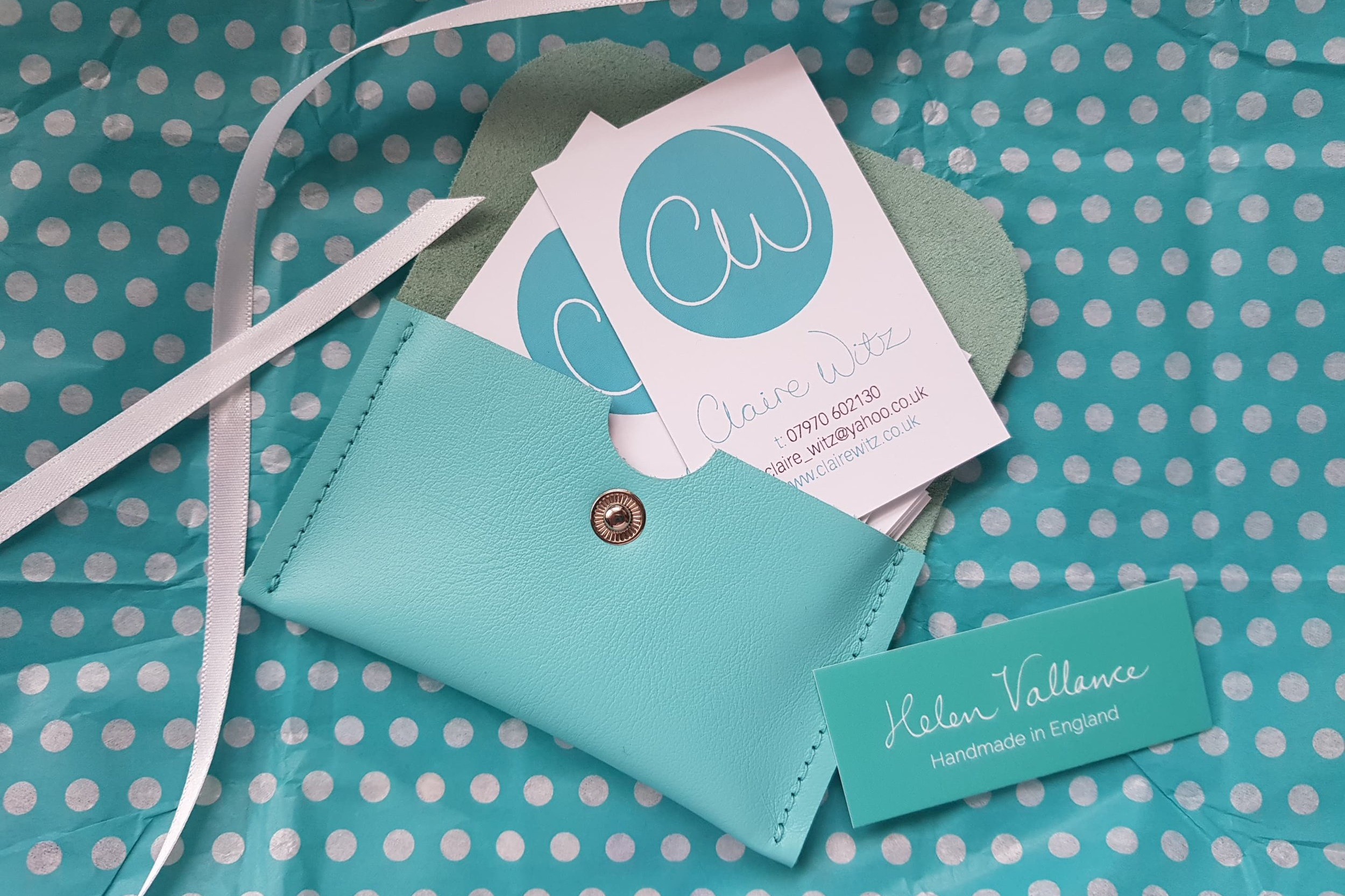 A perfect combo of my new business cards and leather business card wallet by Helen Vallance.