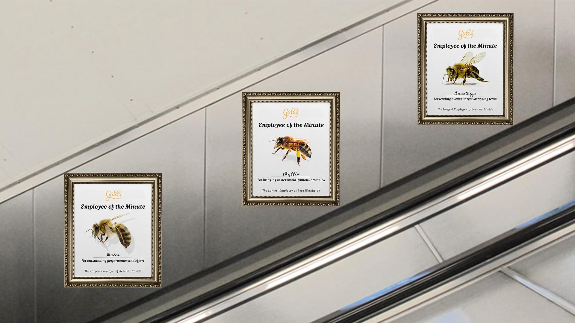 Digital posters on underground escalators