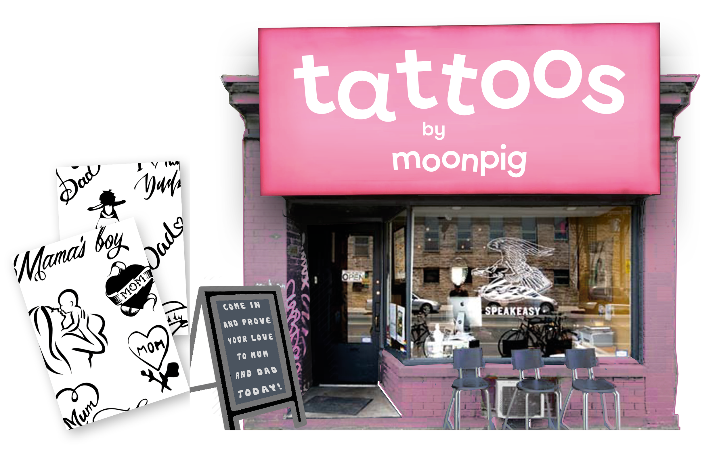 """Temporary tattoo parlour pop-ups around Mother's and Father's day. Nothing says """"I love you"""" like your mum's name across your chest."""
