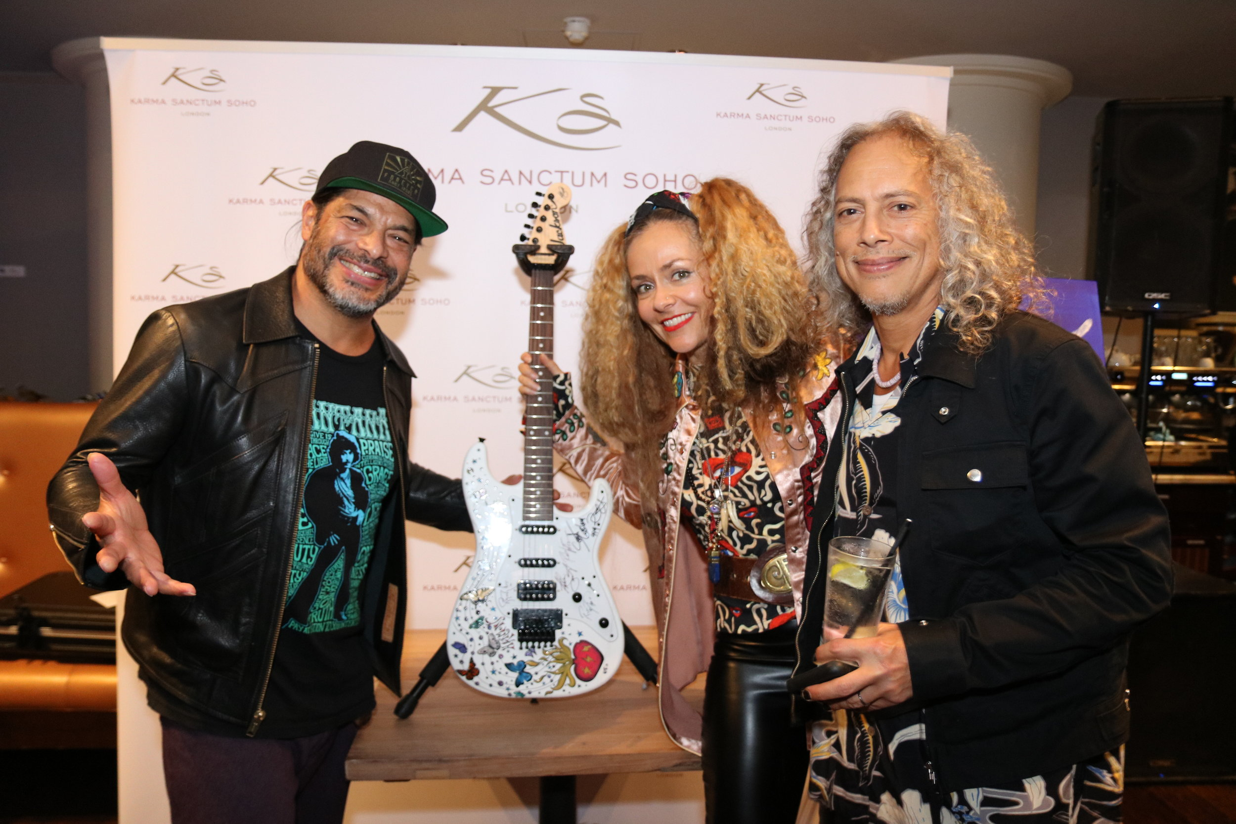 Chloe and Rob Trujillo with Kirk at the launch