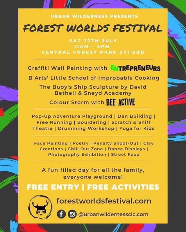 3 WEEKS TO GO!  If you missed it last time, check out the awesome activities that will be happening at the Forest Worlds Festival on Sat 27th July.  We can't wait!  www.forestworldsfestival.com
