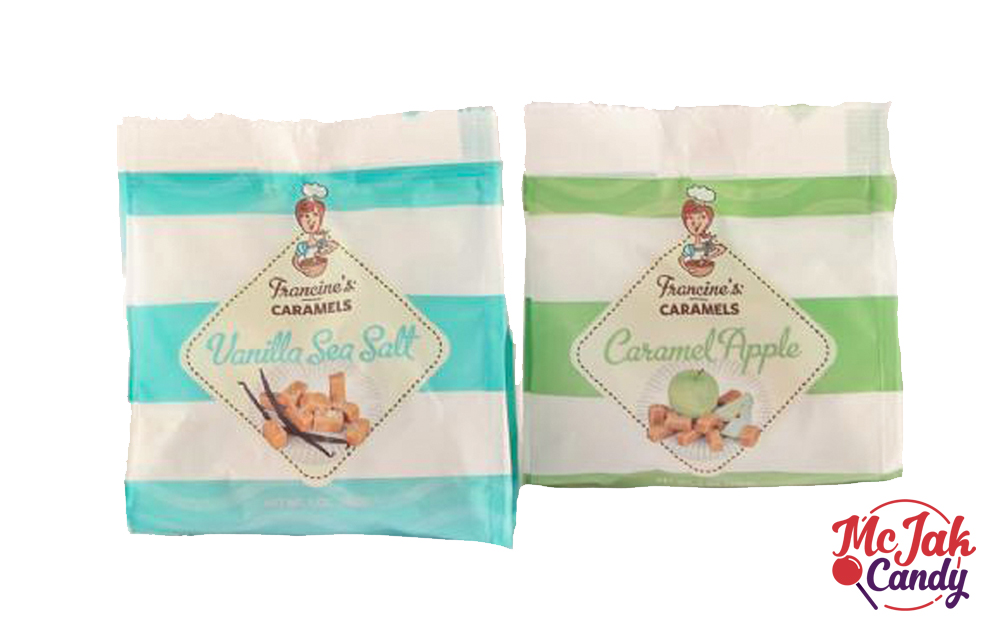 Caramels - Flavors: vanilla sea salt, apple caramelStock Number: RB18-XXShipping and Nutritional Information- Caramel Apple Caramels- Vanilla Sea Salt CaramelsSRP: $3.99Shelf Life: 6 months