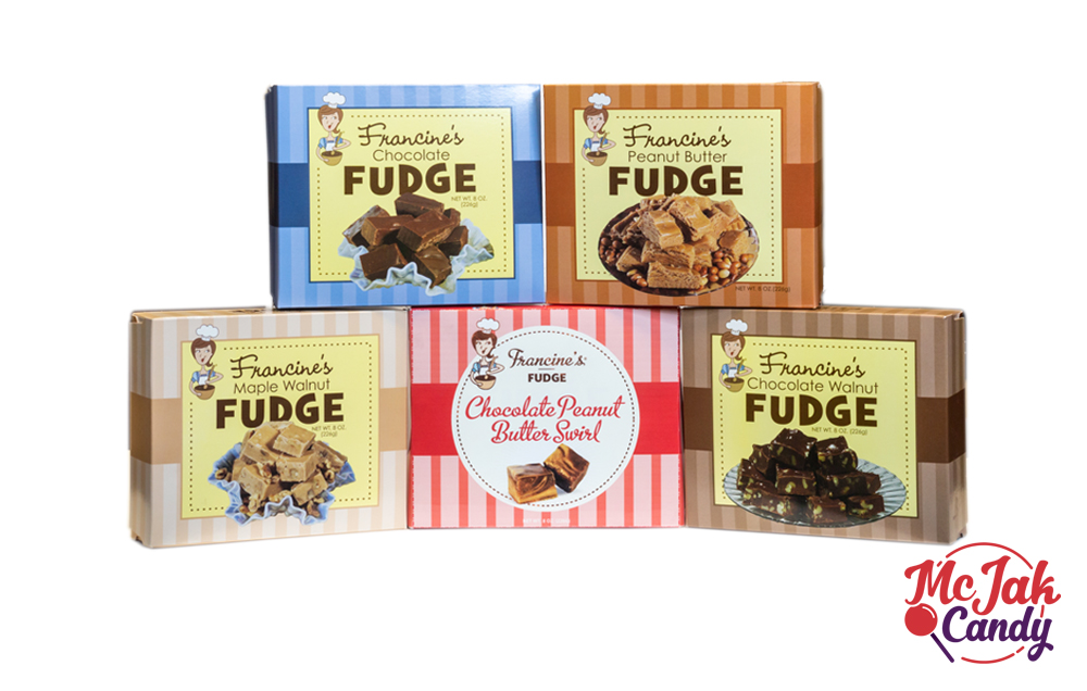 Fudge - Flavors: chocolate, peanut butter, chocolate peanut butter swirl, chocolate walnut, maple walnutStock Number: FB12-XXShipping and Nutritional Information- Chocolate- Chocolate Walnut- Chocolate Peanut Butter Swirl- Peanut Butter- Maple Walnut- Francine's Fudge Floor Display - 48ct.- Francine's Fudge Counter Unit - 18ct.- Gift Tin Fudge Floor Display - 24ct.SRP: $3.99Shelf Life: 6 months