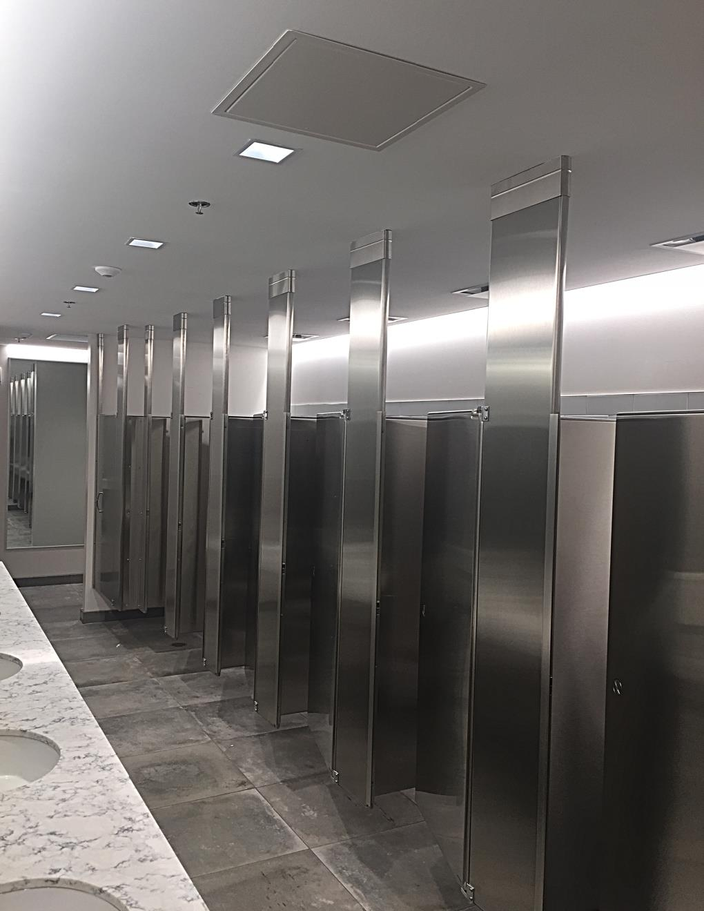 Restroom partitions and accessories - Fitting the needs demanded by your project, we are ready to install restroom partitions with any assortment of accessories ranging from automatic soap dispensers, paper towel dispensers, toilet paper holders, mirrors, grab bars, and more!