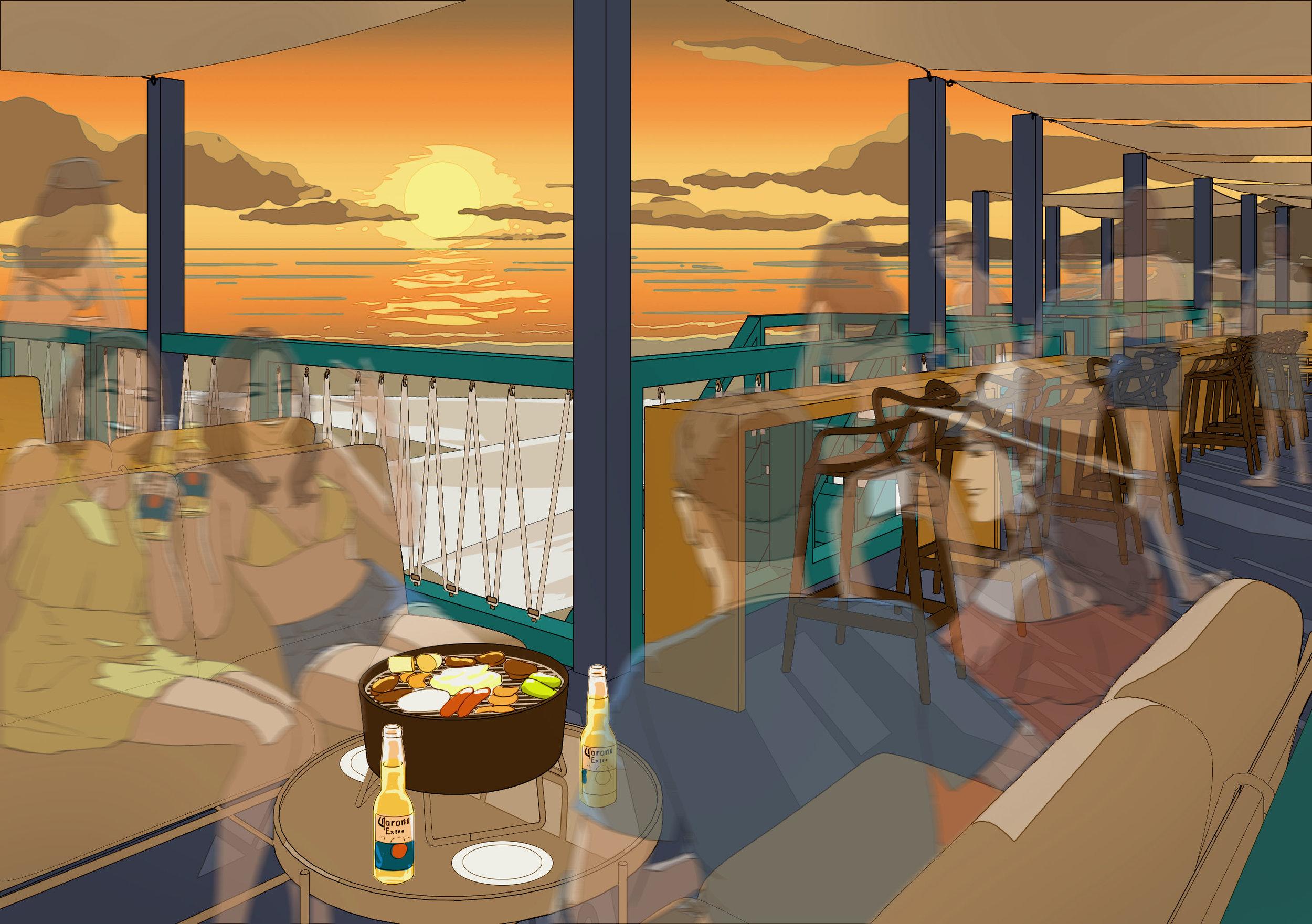 葉山の海とサンセットを一望できる予約席