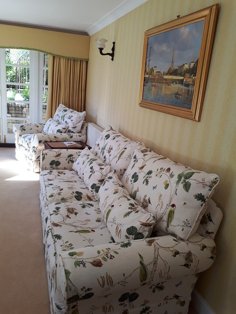 Recovered Sofa in Sanderson Woodland Chorus and new curtains and pelmets in Romo Linara -
