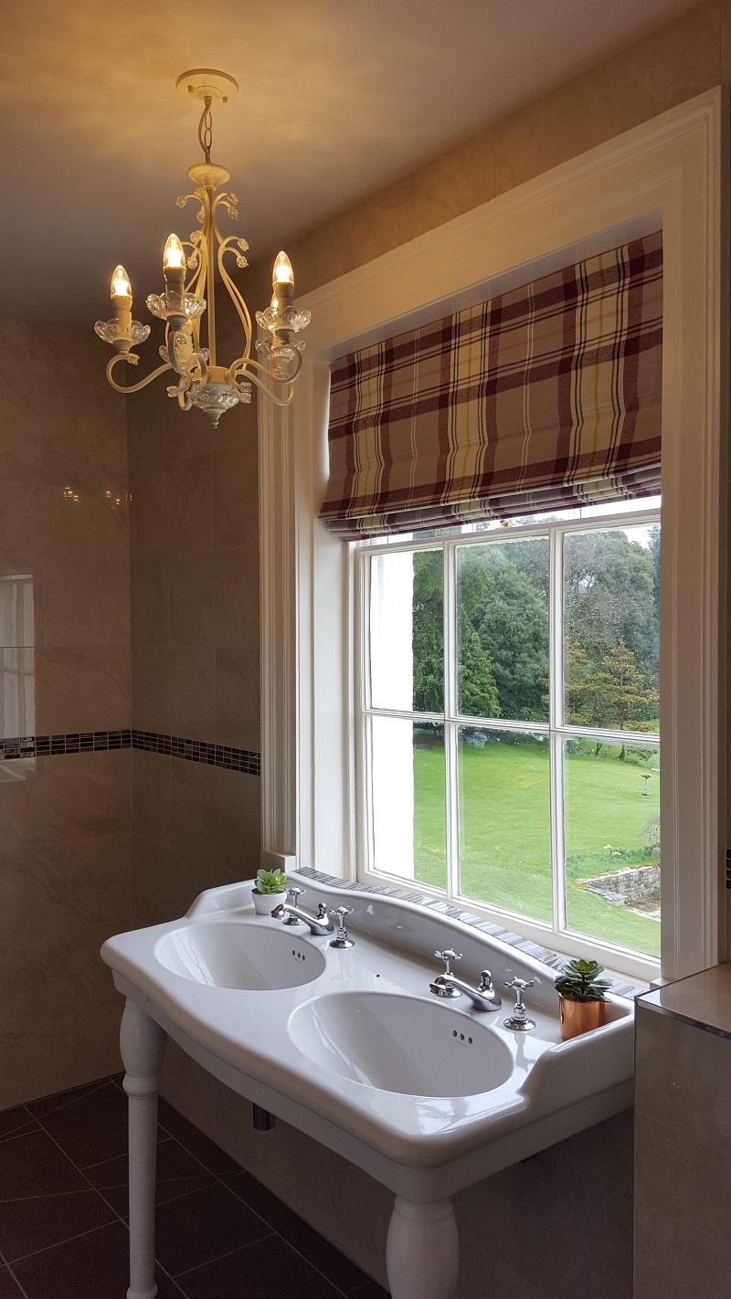 Rockbeare manor bathroom roman blind -