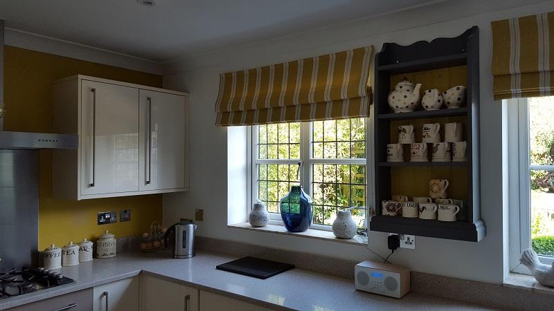 Lovely Vanessa Arbuthnott striped blinds for the kitchen -