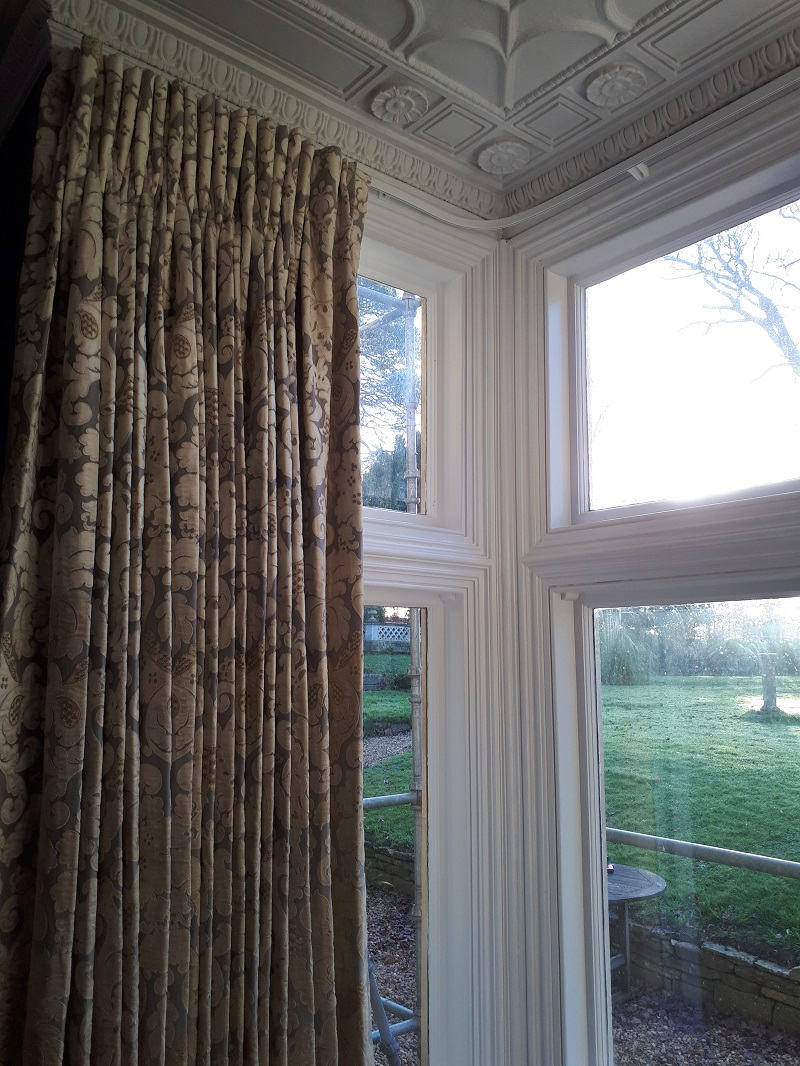 Beautiful Georgian house curtains using Colefax and Fowler Brockham Blue fabric -