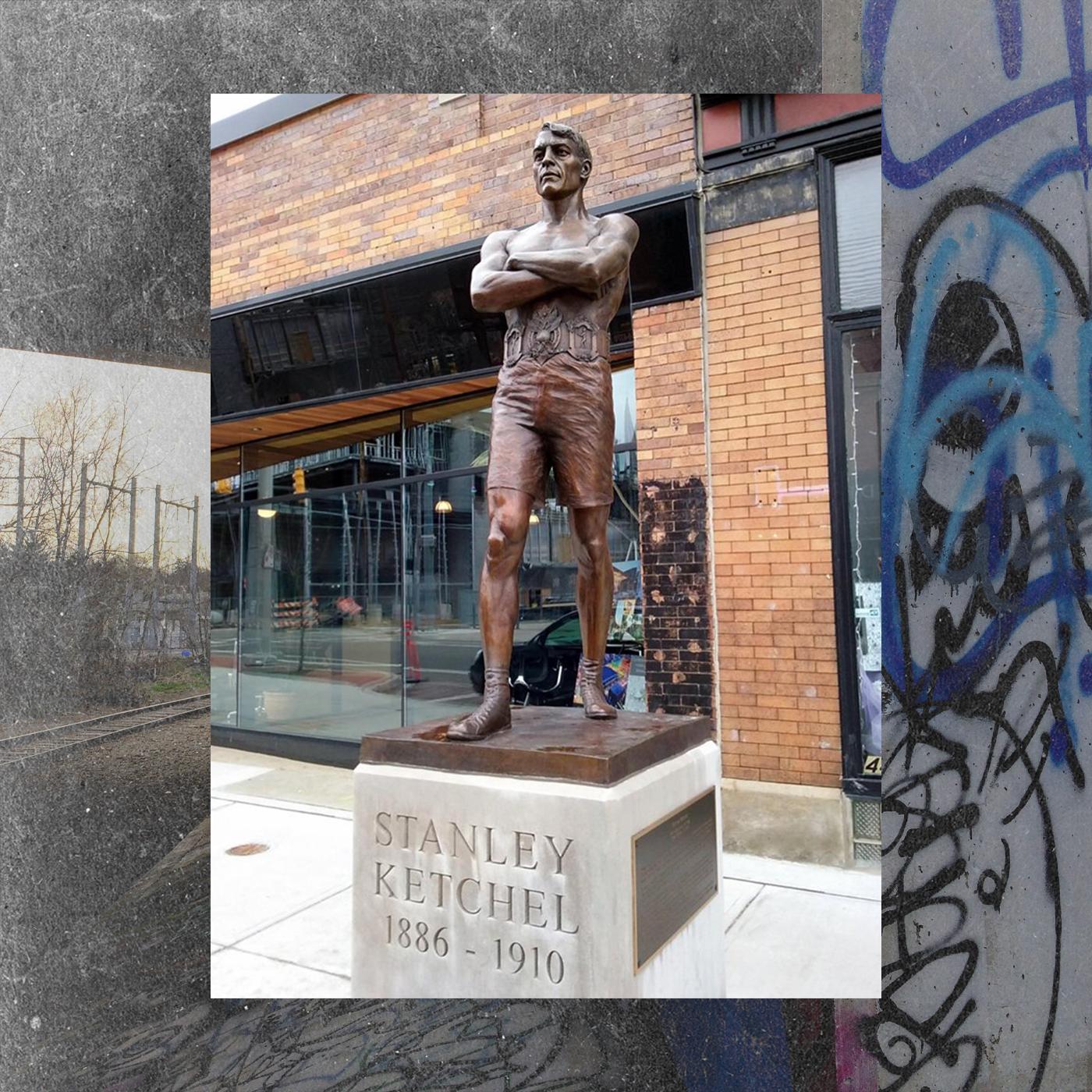 Stanley Ketchel's statue on GR's west side