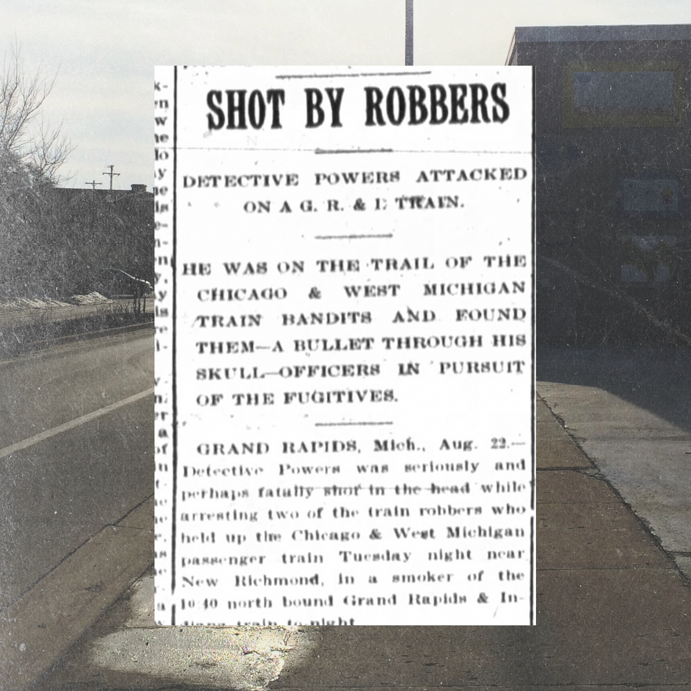 Newspaper clipping reporting George Powers' murder