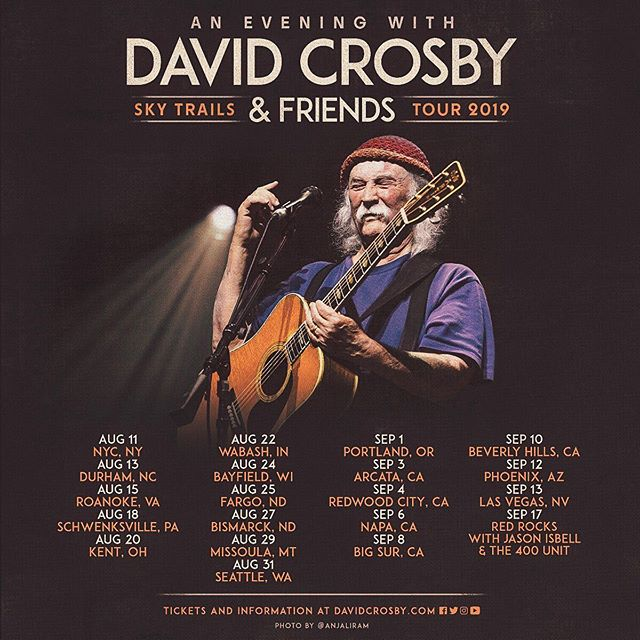 ✨NEW TOUR DATES✨ I'm so excited to join my friend @thedavidcrosby and The Sky Trails band on the road again starting on August, 11 in NYC! Come come come❤️