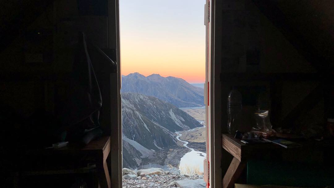 The view from the door of Sefton Bivy.