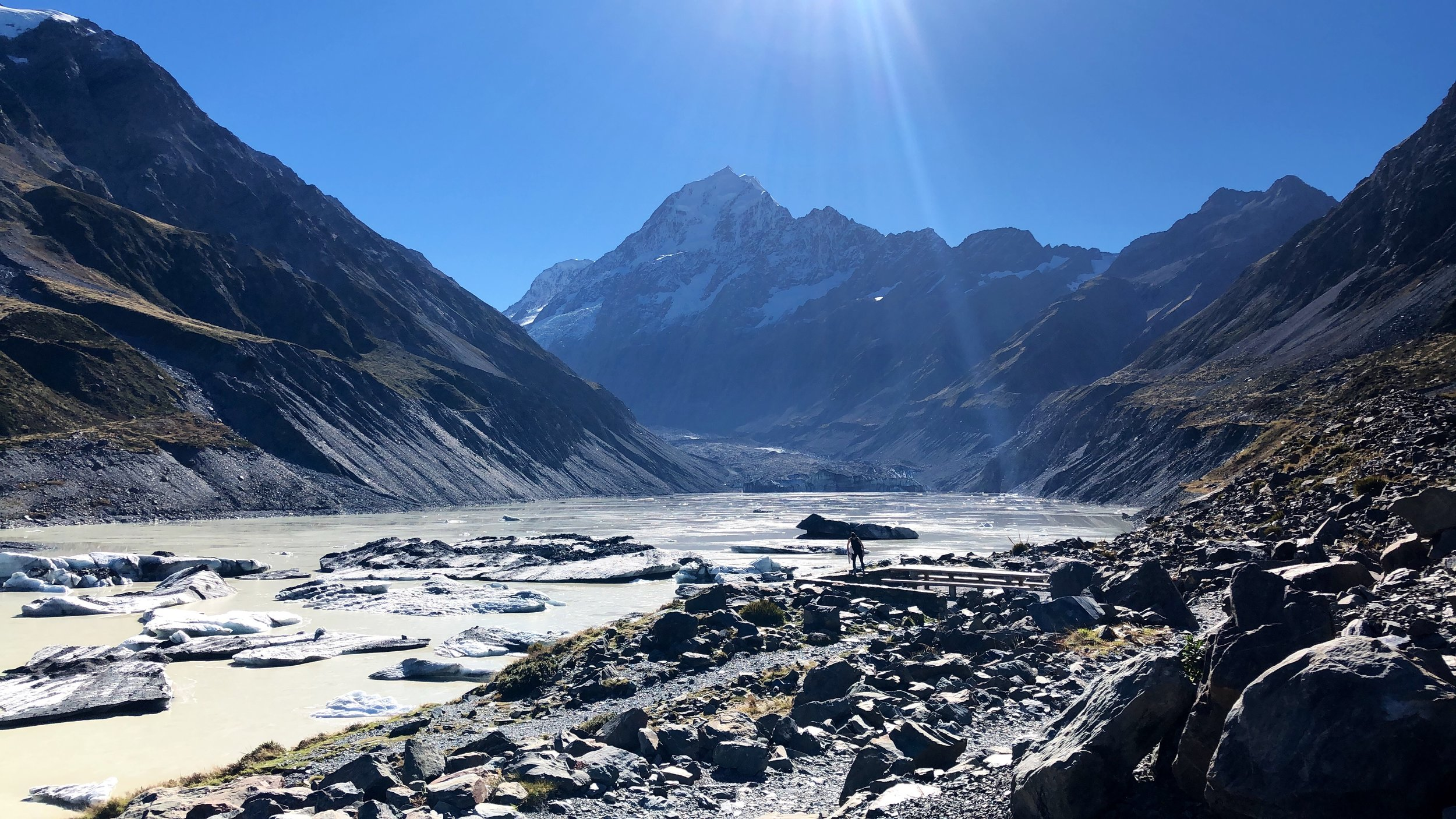 Hooker Valley all to ourselves. Can you spot Jules?