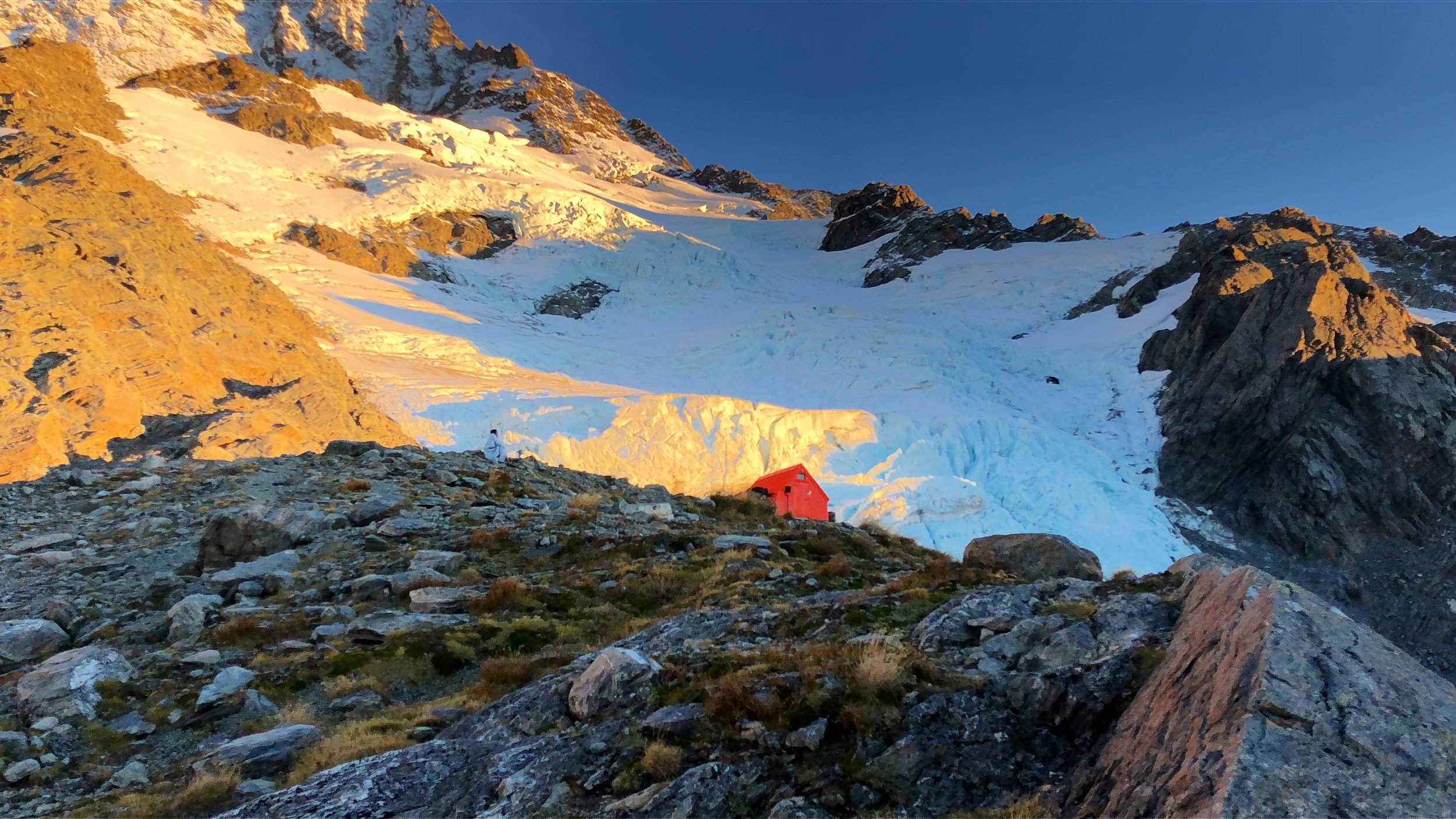 Sefton Bivy tucked up against Mt. Cook. (Can you see Jules?)