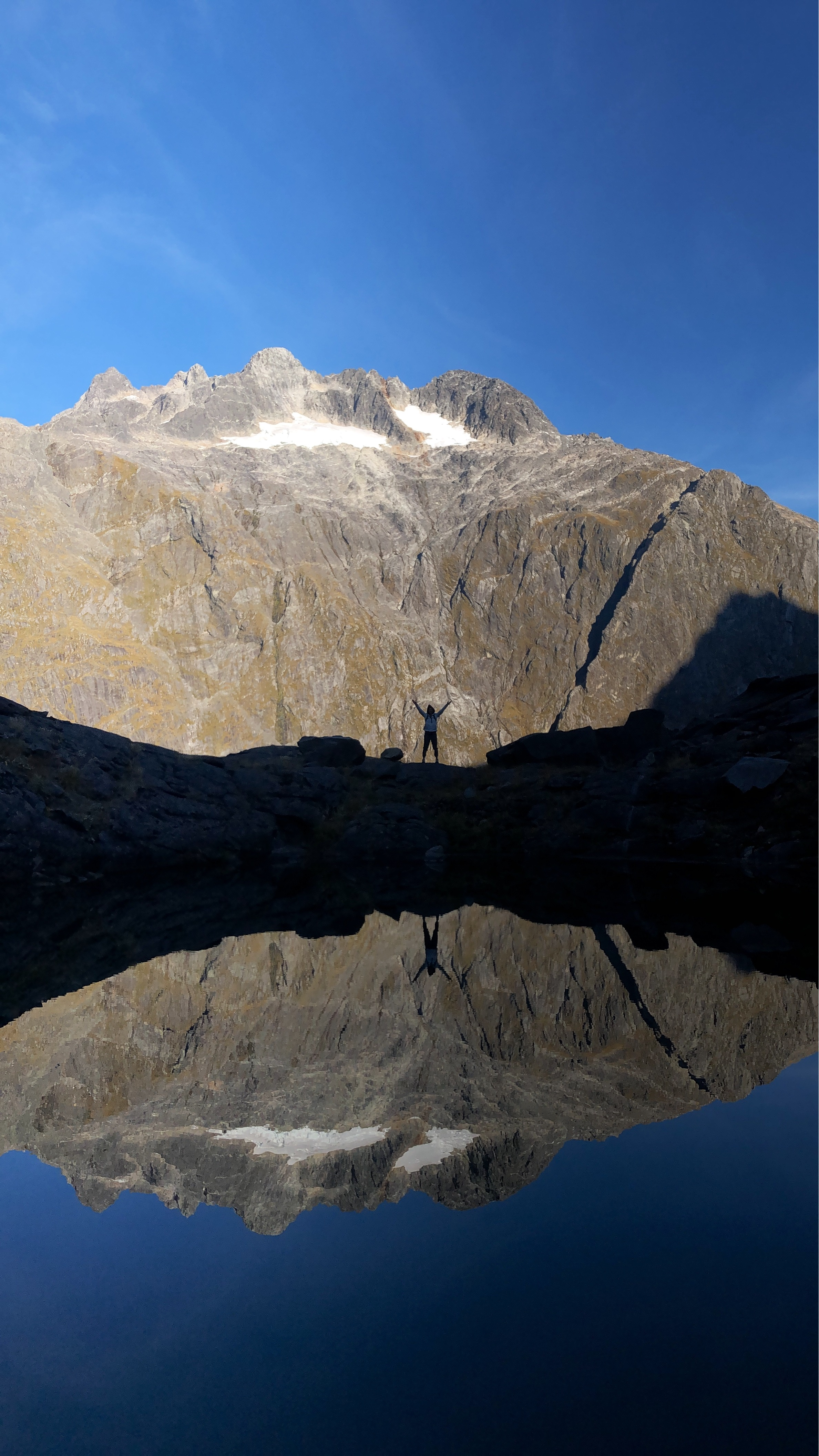Gertrude Saddle had incredible mountain lakes. (Jules pictured)