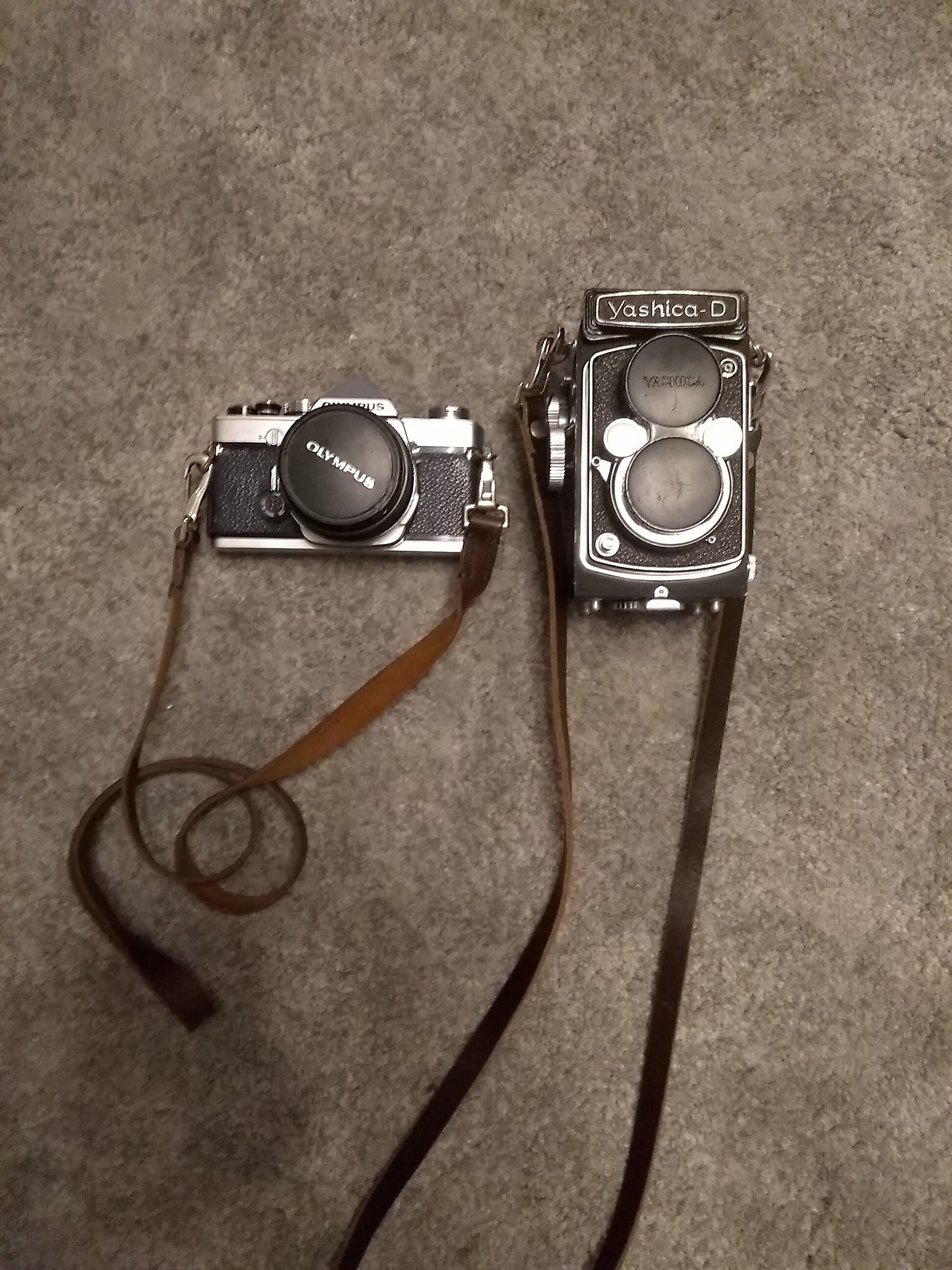 My Olympus OM-1 & Yashica D, my standard travel set up whenever I go away for a trip.