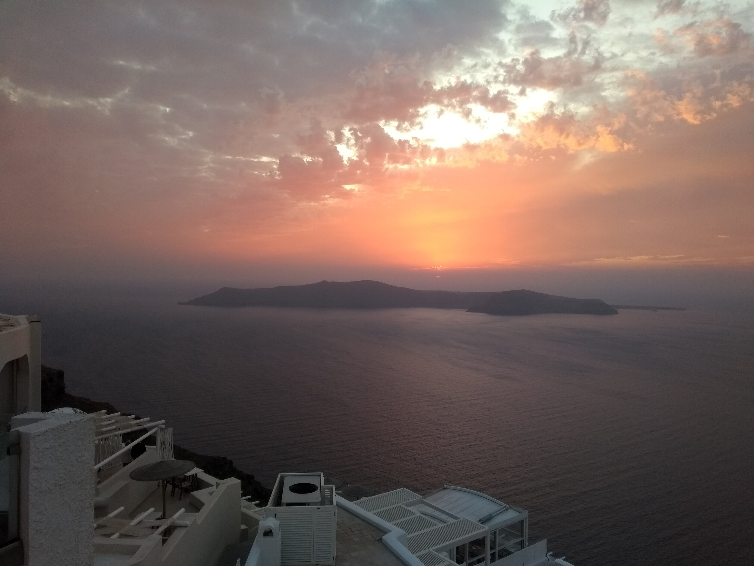 Sunset in Santorini. Hopefully the Kodak Ektar I shot using my Yashica D comes out even more stunning than this.